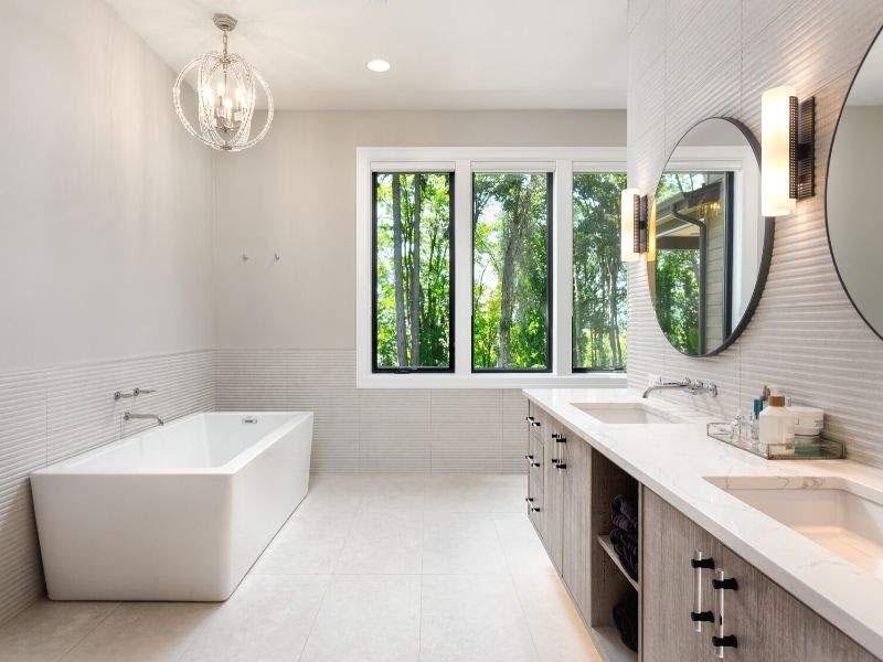 white bath with window