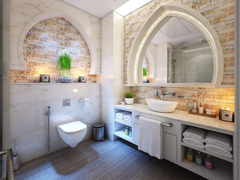 Natural material's tiles bath
