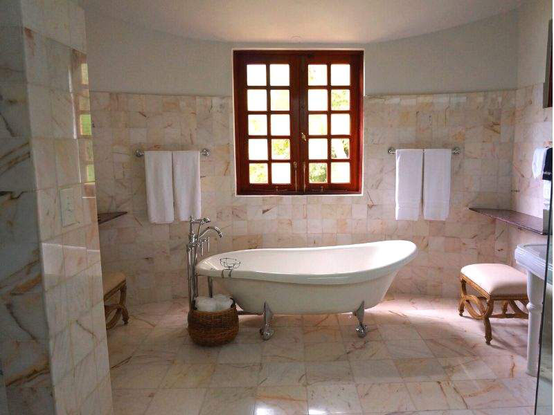 Marbles tiles in bathroom